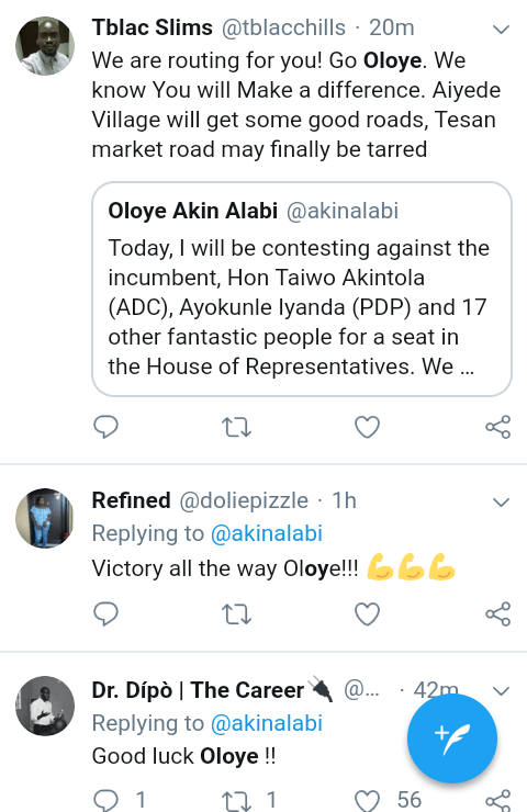 Screenshot 20190223 0904042 - #NigeriaDecides: 'Oloye 2.20 odds to Win' – See What Nigerians are Saying About Akin Alabi
