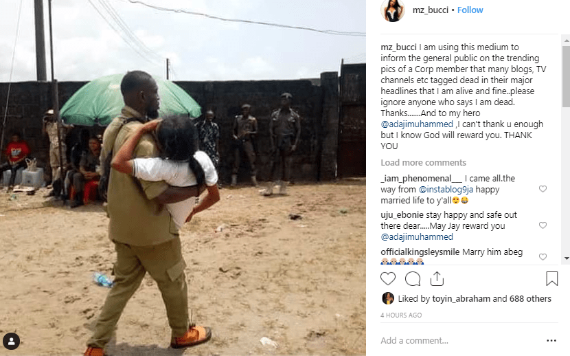 """corper - 2019 Elections: Corp Member Said She Didn't Die, Pens Lovely message For Her """"Savior"""""""