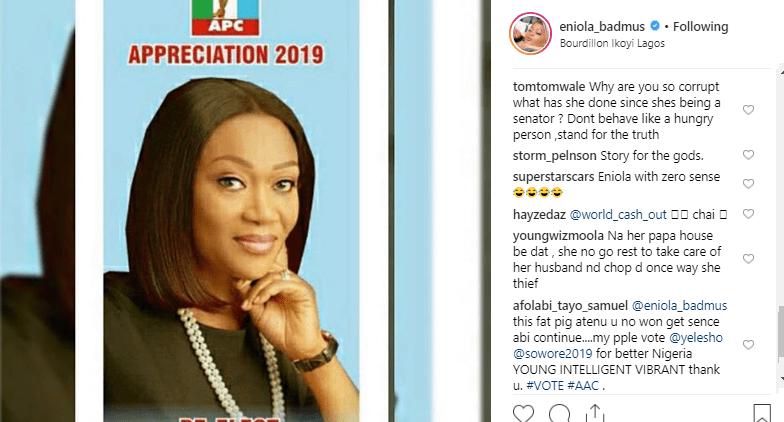"enn - ""Eniola With The Zero Sense"" – Nigerians Say As They Throw Mud At The Actress For Campaigning For Senator Oluremi Tinubu"