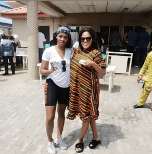 p - Tiwa Savage and Toyin Aimakhu pictured at their polling unit