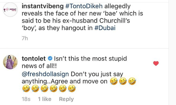 "to - Here Is How Tonto Dike Reacted To The News That Her New ""Bae"" Is Her Ex-Husband's Boy"
