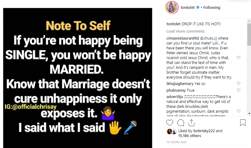 "tonto - ""Marriage Doesn't Cure Happiness, It Only Exposes It"" – Tonto Dikeh"