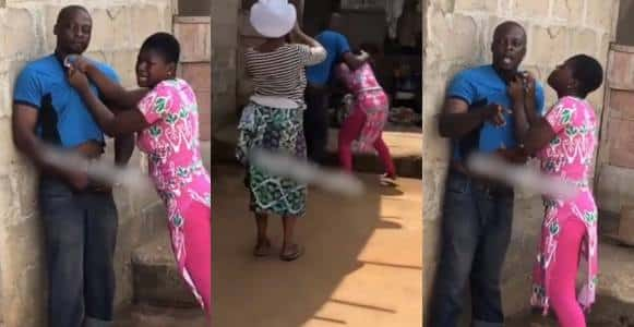 [VIDEO]:Man Flees As Daughter Stands Up To Him For Beating Her Mother