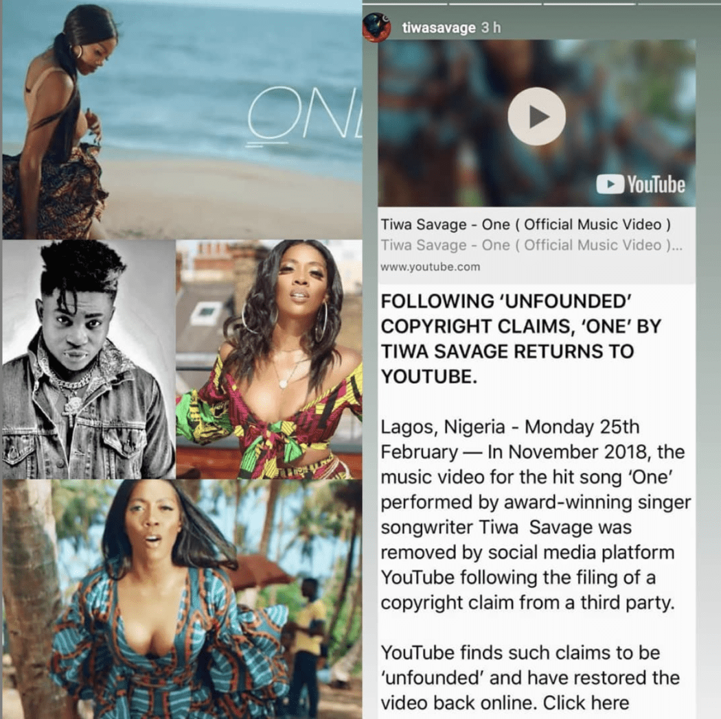 Screen Shot 2019 03 02 at 6.08.06 PM - Tiwa Savage 'One' Video returned on YouTube
