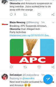 Screenshot 20190301 1609062 - 'Welcome To Next level' – Nigerians React to Suspension Of Amosun and Okorocha
