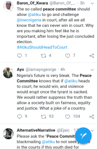 Screenshot 20190301 1743552 - 'Why Won't They Allow Lawyers Shine' – Nigerians React To Peace Committee Meeting With Buhari