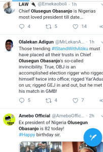 "Screenshot 20190305 1545382 - ""Chief Olusegun Obasanjo is Nigeria's most loved president till date"" – Nigerians celebrate Former president [See pictutes]"