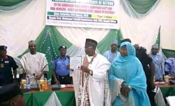 WhatsApp Image 2019 03 30 at 2.00.30 PM 600x362 - INEC issues certificate of return to Bauchi Governor-Elect