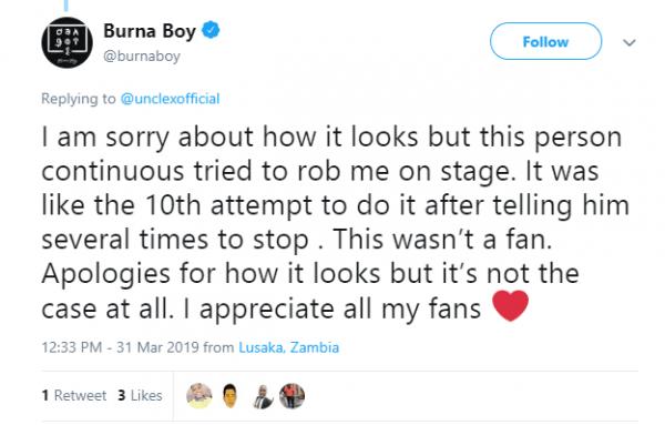 Burna Boy apologies for kicking fan