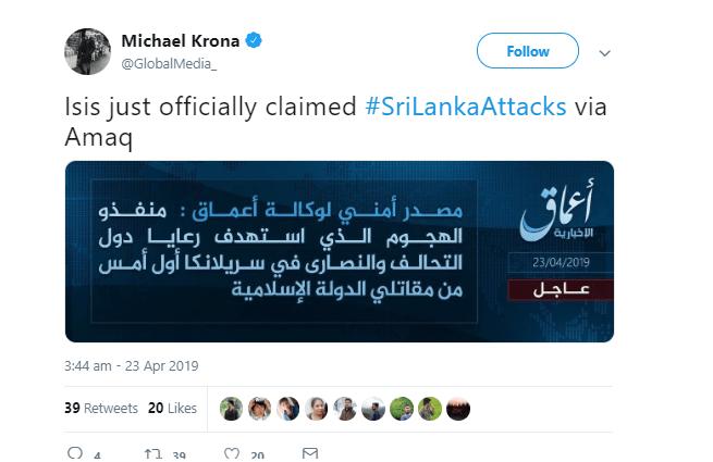 1 66 - 'We bombed Sri Lanka' – ISIS takes responsibility