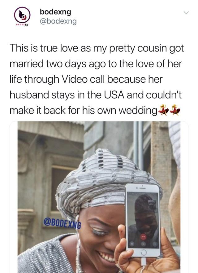 31ACA5E5 9708 4427 BCC0 5EAE9DFDE33C - Nigerian woman weds her US-based boo via a phone call