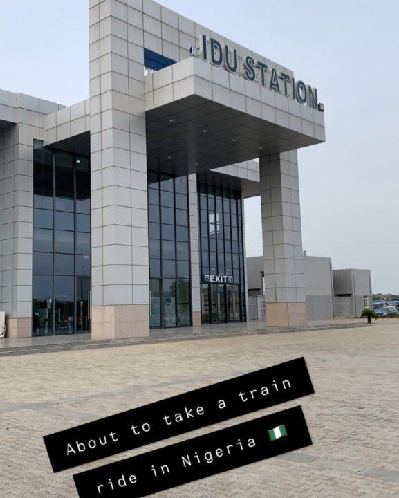 [Photos]: Toke Makinwa takes her first train in Lagos