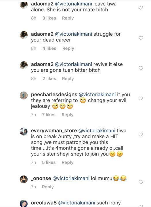Victoria Kimani savagely dragged over this comment on Toke Makinwa's page