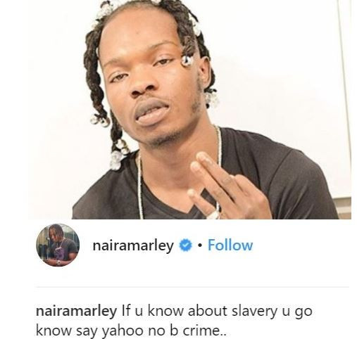 5cbaeb546bf7e - 'If you know about slavery, you'll know that 'Yahoo Yahoo' is not a crime' – Singer Naira Marley