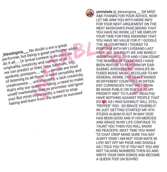 9157223 yem1 jpeg9bfccb472b25bbed88c05a64b9ee55b6 - Call Me Aunty Yemi – Yemi Alade Drags Tiwa Savage Fan on Her Timeline