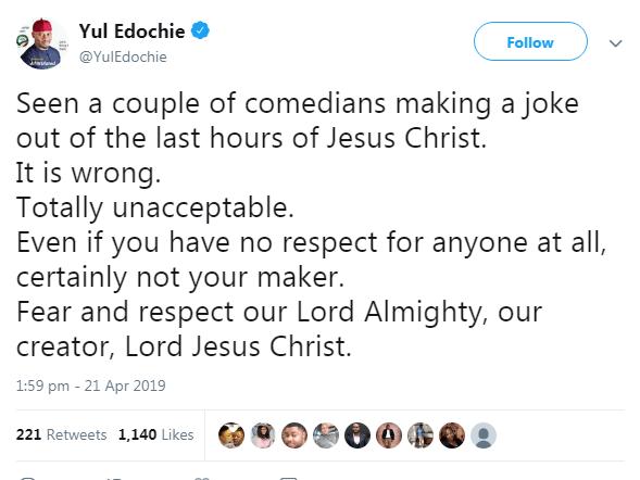 9234784 makingjokesofchristslasthoursiswrongactoryuledochietellscomedians png405bd3bc98727cd0f35fdc0f4b1721cb - Yul Edochie Warns Comedians About Jokes on Jesus' Death