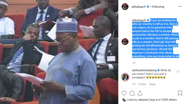 Comedian Alibaba Takes Swipe at Nigeria's Constitution Over Continuous Payment of Joshua Dariye