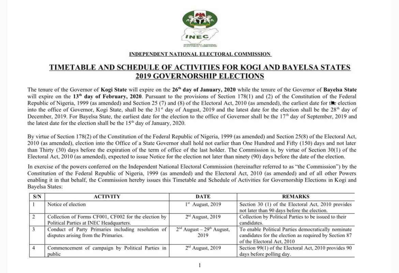 D3vL EMW0AEwJ0l - #ELECTION2019: INEC Fix Date for Kogi Gubernatorial Election