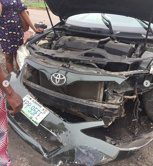 actress biola bayo involved accident 3 - Actress Biola Adebayo Survives Ghastly Car Accident