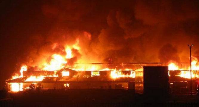fire - Fire Destroys 35 Shops In Kano Market