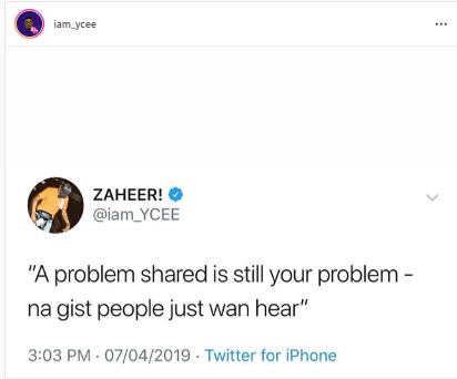 ycee - If You Think Social Media Is The Best Place To Share Your Problem Then See What Ycee Has To Say