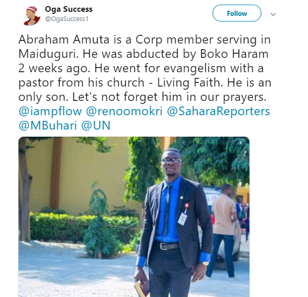 1 10 - Boko Haram kidnap corp member in Borno state