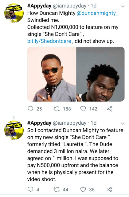 1 11 - Norway-based Artist, Appyday Reveals How Duncan Mighty Swindled Him of 1Million Naira