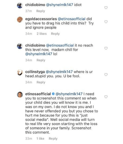 2 15 - 'Your child before this month ends' – Etinosa curses a troll on social media