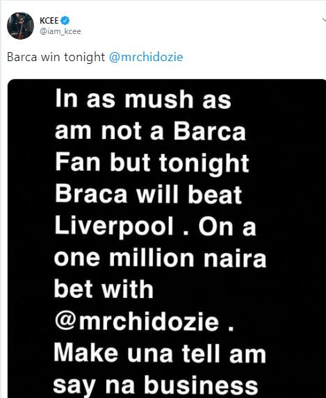 5cd205ad8ff9e - Kcee loses N1million bet following Barcelona's loss to Liverpool