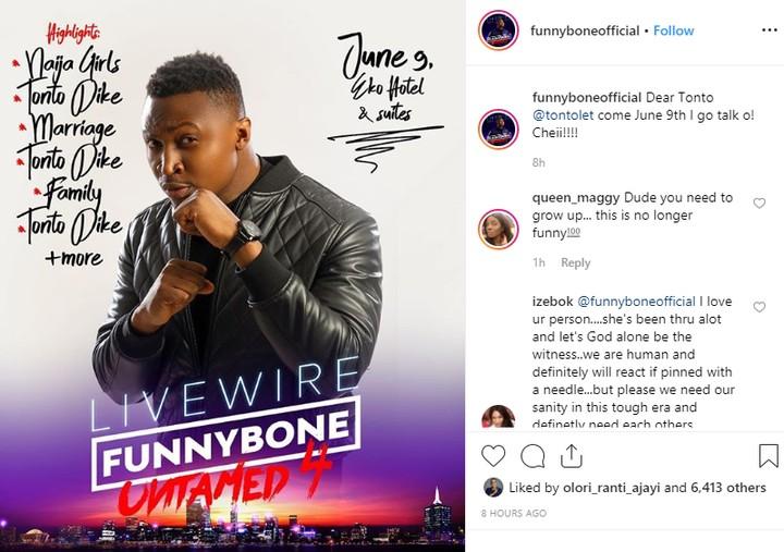 9306391 tontodikehthreatensfunnybonewithpoliceashepromisestomakeherabuttofjokesunclesuru1 jpeg4522d1b410fc021fb4b124becf2bbb30 - Nollywood Actress, Tonto Dikeh Threatens to Arrest Funnybone