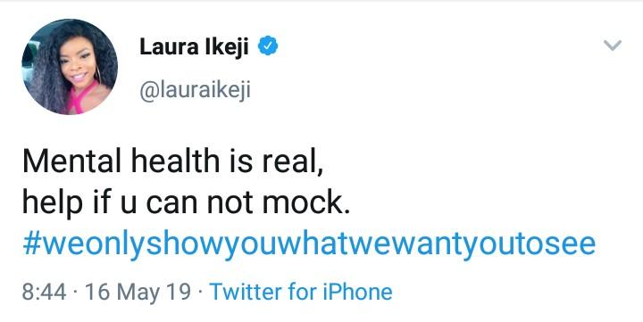 9406972 img20190516133542847 jpegb40399a6e25533ef435a869263d91b25 - 'Mental Health Is Real' – Laura Ikeji Advise Fans