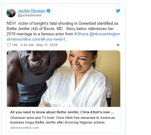 Capture 20 - Actor Chris Attoh's wife shot dead in the US