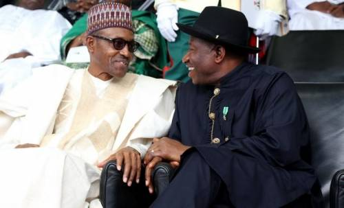 Jonathan and Buhari 1 - 'Jonathan, Diezani received bribe for OPL 245' – Federal Government Tells London Court