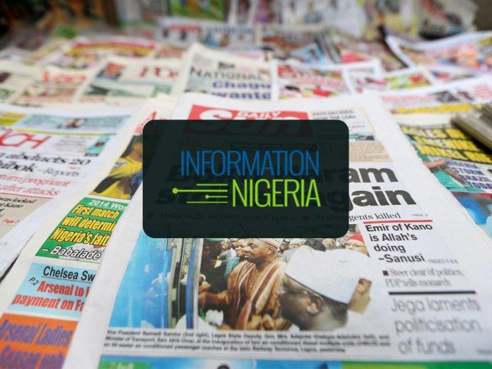 Nigerian Newspaper headlines today