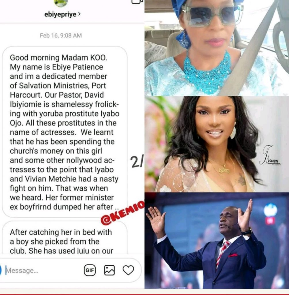 kemi olunloyo - [Photos]: Kemi Olunloyo leaks private chats which showed Iyabo Ojo was dating Pastor Ibiyeomie