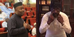 """Video: """"Godswill Akpabio as a retired Senator, I will miss you in the 9th senate but we will definitely meet on the streets of Abuja."""" - Dino Melaye Mocks Akpabio For Not Returning"""