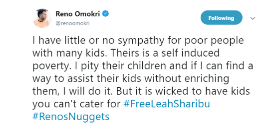 'I have no sympathy for poor people with many kids' - Reno Omokri