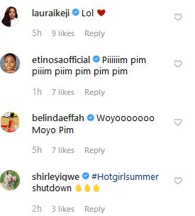 Moyo Lawal's comment section