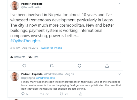 'Nigerians Who Are Honest Do Not Have The Chnace Of Having A Good Life' - Portuguese Businessman