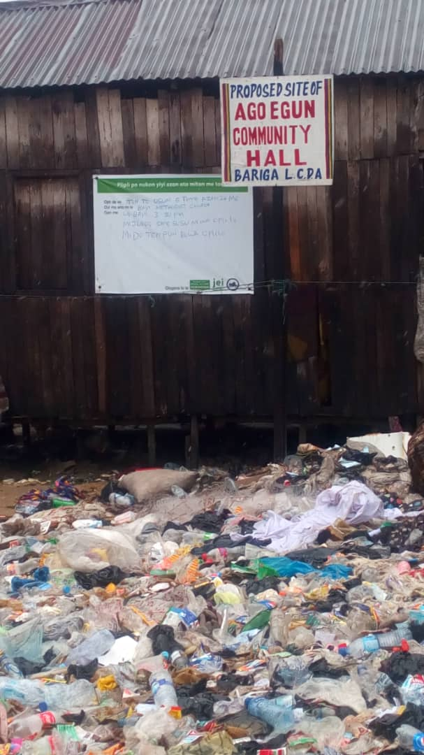 Proposed site of Ago Egun Community hall decorated with heaps of refuse