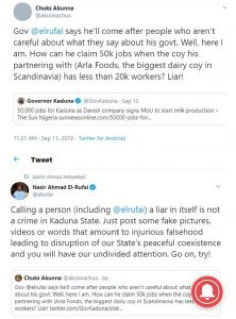 Governor El-Rufai Replies Twitter User Who Called Him A Liar