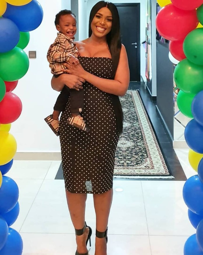 Linda Ikeji and son