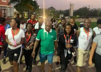 Olakunle Churchill Joins Obasanjo In Early Morning Exercise (Images)