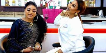Watch As Tonto Dikeh Fondles Bobrisky's Breast (Video)