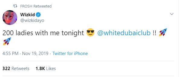 200 Ladies With Me Tonight – Wizkid Reveals