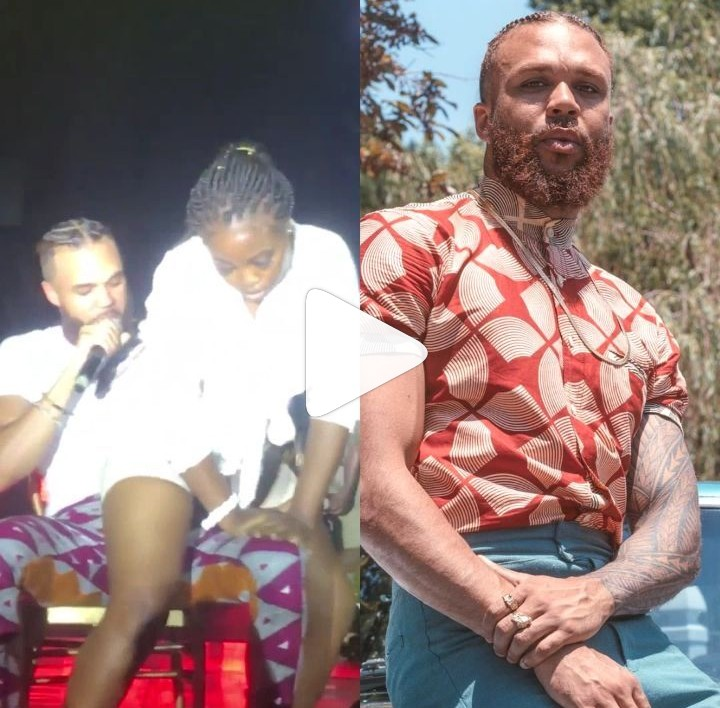 Lady Gives Singer Jidenna Steamy Lap Dance On Stage In Lagos (Video)