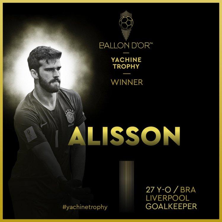 Ballon D'or 2019: Liverpool Goalie, Alisson Becker Named Best Goal Keeper