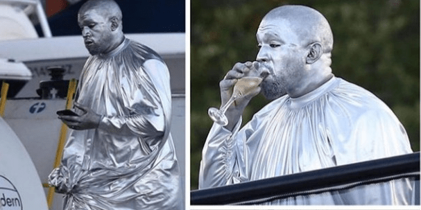 Kanye West Dons Full Silver Outfit For New Show (Picture)