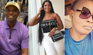 Collage photo of Ned Nwoko, Linda Ikeji and Kemi Olunloyo