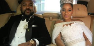 Nigerian music star, Banky W, and actress, Adesua Etomi, are newlyweds in 'the Wedding Party 1'